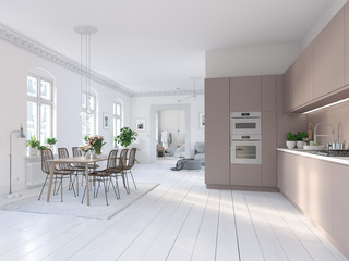 3D-Illustration of a nordic kitchen in modern aparment