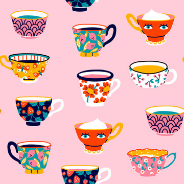 Set of various cups with tea or coffee. Side view. Different ornaments. Flowers, berries, etc Hand drawn colored trendy vector seamless pattern. Cartoon style. Flat design. Pink background