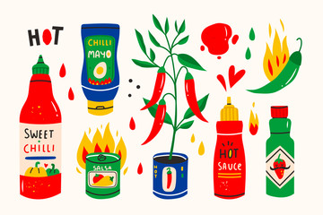 Red hot Chilli sauces. Red and green Hot Chili peppers. Various spicy dressings. Different bottles. Hand drawn colored vector illustration. All elements are isolated.