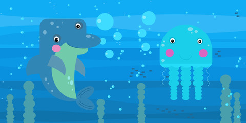 cheerful cartoon underwater scene with swimming coral reef fishes illustration Wall mural