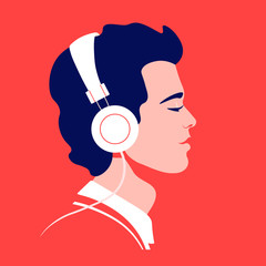 Young man listen to music on headphones. Music therapy. Guy profile. Avatar. Vector flat illustration