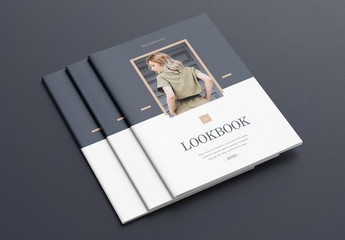 Fashion Lookbook Layout with Gray and Brown Accents