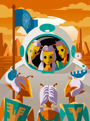 earthling astronaut meeting martians with golden masks
