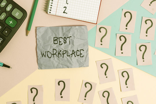 Text sign showing Best Workplace. Business photo showcasing helps employees to grow individually Promotes meritocracy Mathematics stuff and writing equipment above pastel colours background