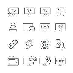 TV related icons: thin vector icon set, black and white kit