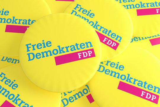 German Election Politics Badges Concept: Pile of FDP Buttons, 3d illustration
