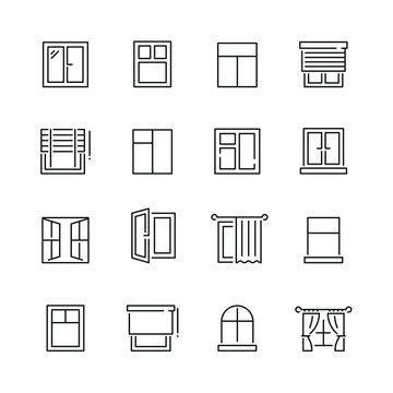 Window related icons: thin vector icon set, black and white kit