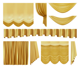 Golden stage curtains. Realistic interior theater luxury gold velvet curtains, gold royal silk decorative elements vector illustration set. 3d yellow movie, entertainment textile drapery