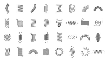 Spring coils. Metal spiral spring, car motor coil swirls silhouette, wire springs, metallic flexible coils and line steel curved spiral isolated vector icons set. black steel helix, suspension symbols