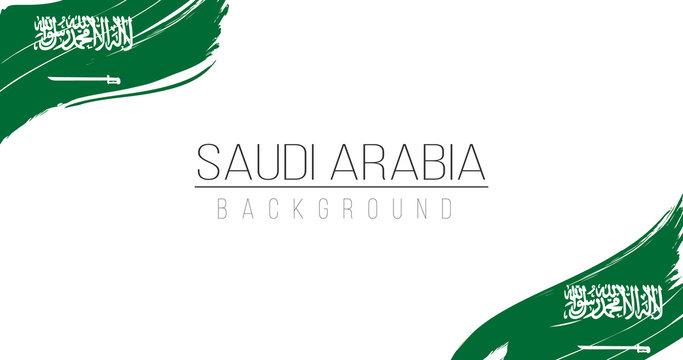 Saudi Arabia flag brush style background with stripes. Stock vector illustration isolated on white background.