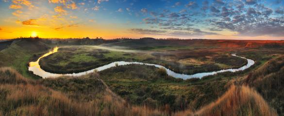 Fotorolgordijn Diepbruine autumn river. misty sunrise in a river valley