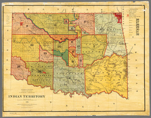 Indian Territory (Oklahoma), 1885. Map (restored reproduction), shows land designated as Indian Territory. Shows land designated for Native Americans before general settlement of the future state.