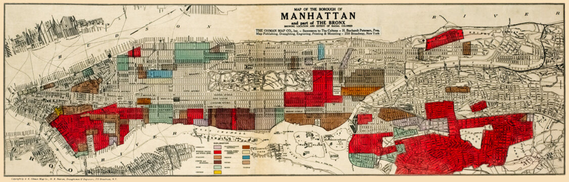 Map of of Manhattan and part of the Bronx showing location of racial populations published 1920, restored reproduction.