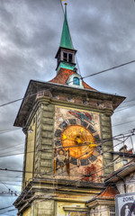 old town clock tower in Bern with electric cables all around