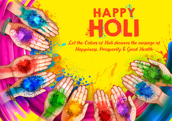 Wall Mural - illustration of abstract colorful Happy Holi background for color festival of India celebration greetings