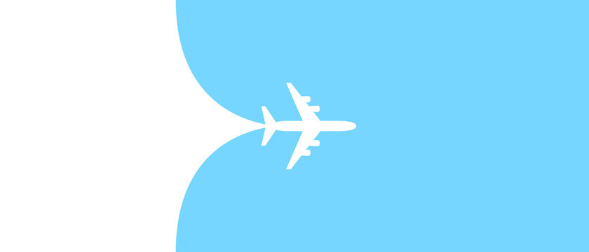 Airplane opening background behind itself. Simple stylish background for air travel, cruises, tours. Business card, banner for a trip abroad on vacation. Airport advertising