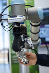 Human hand and robotic arm
