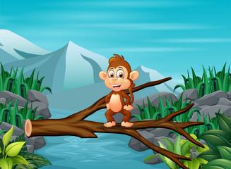 Illsutration of an monkey crossing a tree bridge