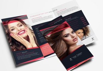 Trifold Brochure Layout for Beauty Businesses