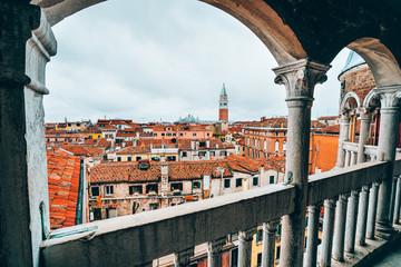 Venice, Italy. The Palazzo Contarini del Bovolo also called the Palazzo Contarini Minelli dal Bovolo. View of venice's roofs