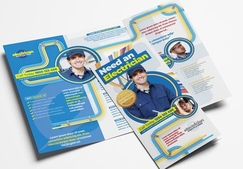 Electrician Trifold Brochure Layout with Electrical Elements