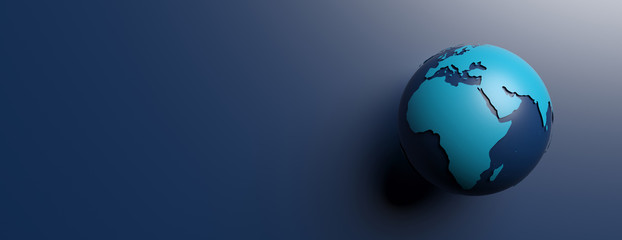 Planet earth blank continents against blue background, copy space. 3d illustration Fotomurales