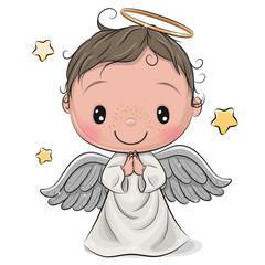 Cartoon Christmas angel boy isolated on white background