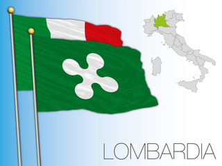 Lombardy official regional flag and map, Italy, vector illustration