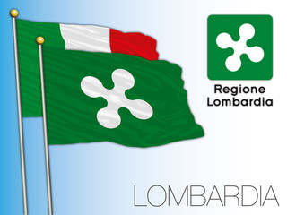 Lombardy official regional flag and coat of arms, Italy, vector illustration