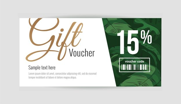 Gift voucher template with tropical plant leaves. Summer, spa, resort concept. Vector illustration