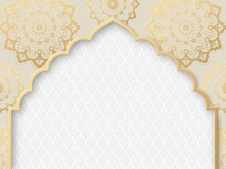 Vector ornate frame with indian or arabesque motif. Template for indian, arabic wedding invitations, oriental holidays. Copy space.
