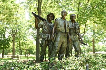 Washington, DC - June 01, 2018: The Three Soldiers at the Vietnam Veterans Memorial, in Washington.