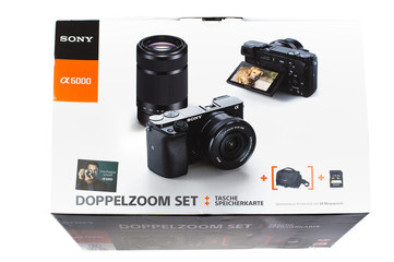Brilon, North Rhine Westphalia / Germany - February 5th 2020: original packaging for Germany of a digital camera Sony Alpha 6000 Kit with 2 lenses. Illustrative editorial.