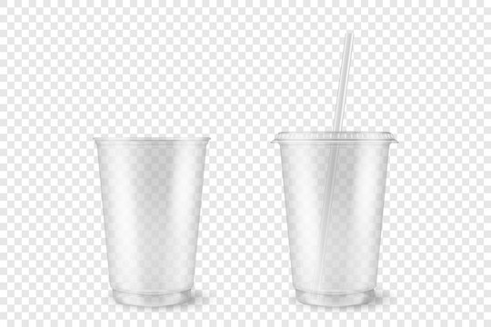 Vector Realistic 3d Empty Clear Plastic Opened, Closed Disposable Cup with Straw Set Closeup Isolated on Transparent Background. Design Template of Milkshake, Tea, Juice Packaging Mockup for Graphics