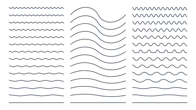 Set of Zigzag Wavy and Curvy Horizontal Lines. Flat Vector Design Template Elements