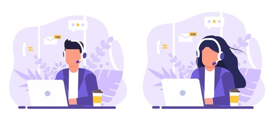 Obraz Customer service, operator set man and woman sitting at table with a laptop, with headphones and a microphone, around icons support elements, coffee and flowers . Flat style vector illustration. - fototapety do salonu