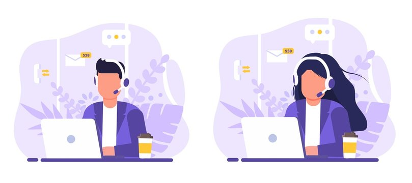 Customer service, operator set man and woman sitting at table with a laptop, with headphones and a microphone, around icons support elements, coffee and flowers . Flat style vector illustration.