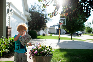 Toddler boy waters a pot of pansy flowers in the front yard at home