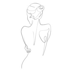 Naked woman standing back one line drawing on white isolated background. Vector illustration