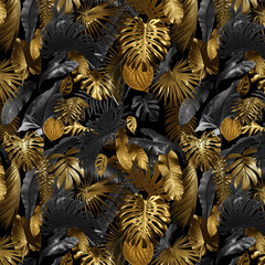 Obraz Seamless pattern with tropical leaves in gold color and black, can be used as background wallpaper - fototapety do salonu