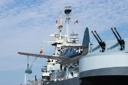 Wilmington, NC USA - February 11 2020. OS2U Kingfisher on the board of battleship USS North Carolina, currently moored along the Cape Fear River in Wilmington, NC.