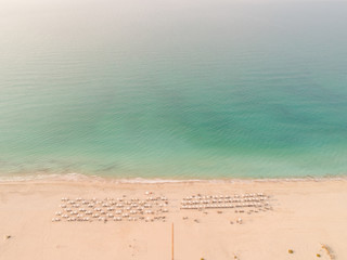 Aerial view of the beach shore on Saadiyat Island, Abu Dhabi, United Arab Emirates