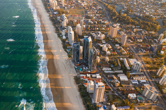 Aerial view of buildings on the shore of the beach, Gold Coast, Queensland, Australia