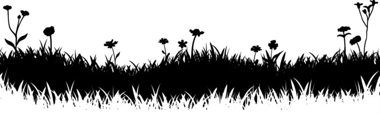Meadow Grass Nature Silhouette Background Vector Fotobehang