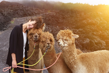 Poster Lama Happy together! Young woman hugs her llama friends in the mountains. Travel concept