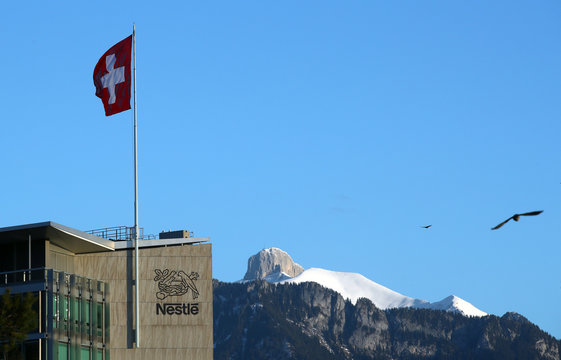 The logo is pictured on the headquarters of food giant Nestle in Vevey