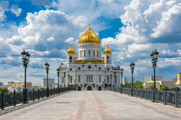 Cathedral of Christ the Saviour in Moscow, Russia. Sunny summer day