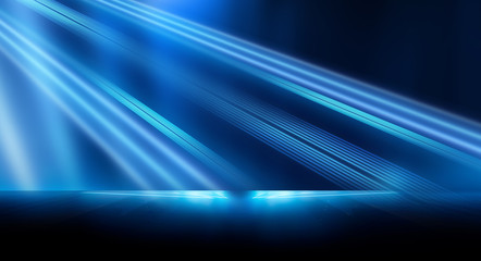 Wall Mural - Dark background with lines and spotlights, neon light, night view. Abstract blue background. Blue dark empty scene.