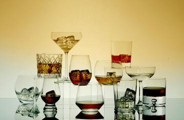 Studio shot of dark liquors