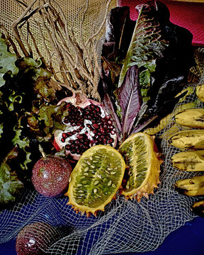 Still life of assorted tropical fruit